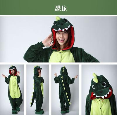 小黄人恐龙熊猫卡通连体睡衣男女秋冬季春季动物日韩版表演服动漫