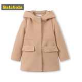 Balabala children's children's coat autumn and winter baby hair children's long coat thick