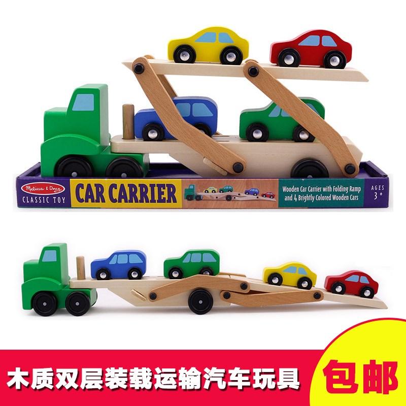 木质双层运载车模型木制老爷汽车送小男孩儿童木头车玩具车模摆件