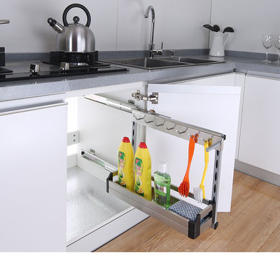 水槽柜拉篮环保板式不锈钢厨房侧装置物架 配禁音阻尼导轨收纳架