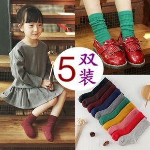 儿童袜子纯棉秋冬男童棉袜小孩公主袜女童中长筒地板袜宝宝堆堆袜