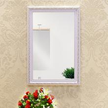 欧式粘贴浴室镜子卫生间带框厕所梳妆台化妆镜洗手间壁挂贴墙镜子图片