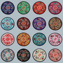 Ethnic wind small embroidered cloth art cup cushion round teapot cushion meal cushion heat insulation cushion home decoration gift
