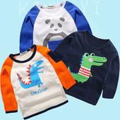 B类熊猫鳄鱼图案儿童卡通童装 恐龙长袖 T恤男童纯棉透气春秋打底衫图片