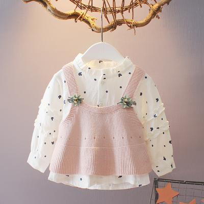 女宝宝秋装长袖衬衫毛线马甲两件套0-1-3岁女童秋装上衣婴儿衣服