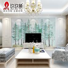玖玖鱼 瓷砖背景墙简约现代客厅电视沙发背景墙砖微晶石 薄荷绿林