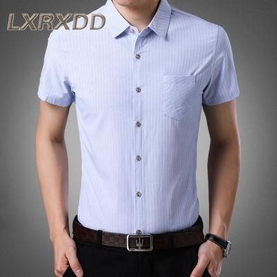 LX薄款青年男士衬衫2018夏季新款条纹休闲男装修身男款上衣潮2476