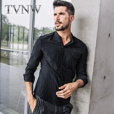 TVNW休闲立领衬衣修身显瘦男装2017新款条纹衬衫青年男士寸衣4952