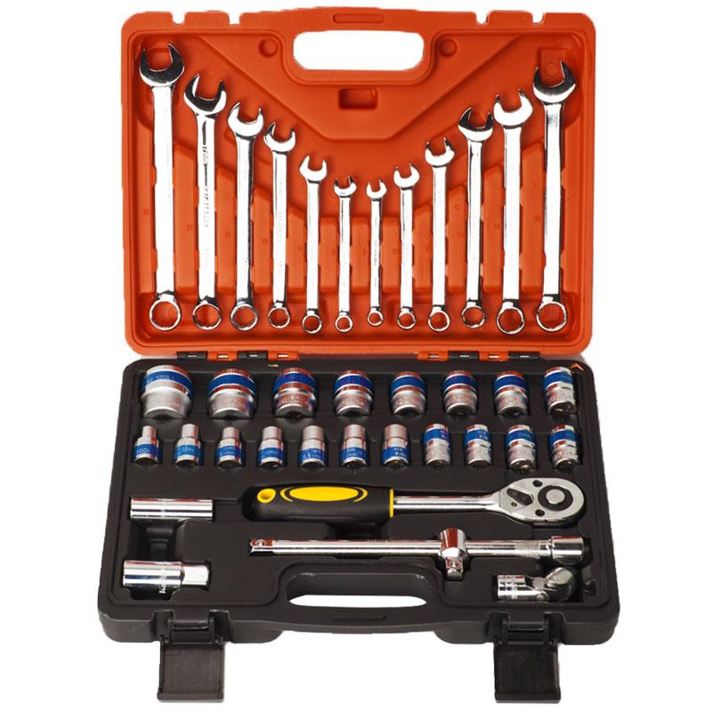 多功能汽修T型六角套筒13件套筒扳手组合 L型外六角轮胎工具套装
