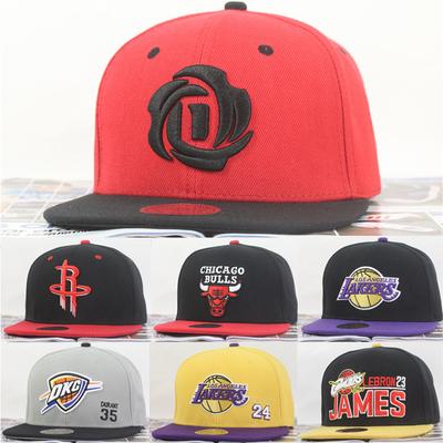 帽子男夏季平沿棒球帽科比湖人公牛火箭骑士队户外遮阳平檐篮球帽