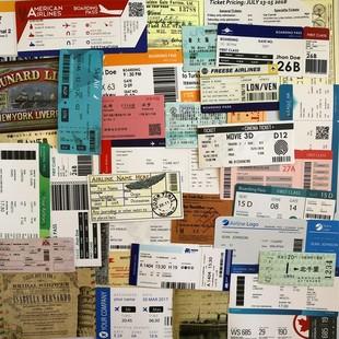 55张复古登机牌行李箱贴纸车票船票旅行纪念标签邮戳贴画拉杆箱贴