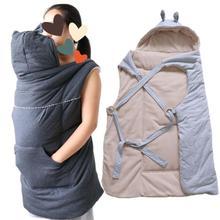 秋冬天加绒厚婴儿背带披风保暖带帽斗篷防风包被宝宝外出推车盖毯