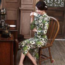 淑女中式清新文艺日常女装中国风秋款民国长袖加大码旗袍女中长款