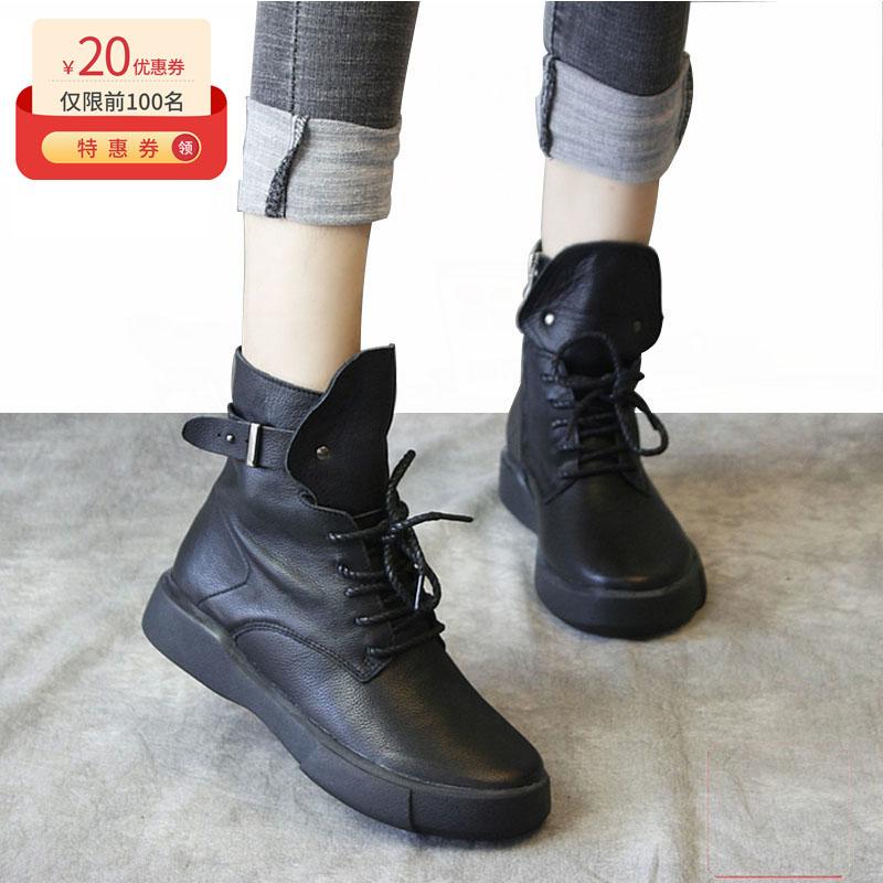短靴女2019秋冬新款真皮透气软底欧美平底系带网红黑色马丁靴百搭