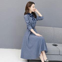 2019春季新款女装娃娃领大摆裙潮过膝中长款修身显瘦长袖连衣裙