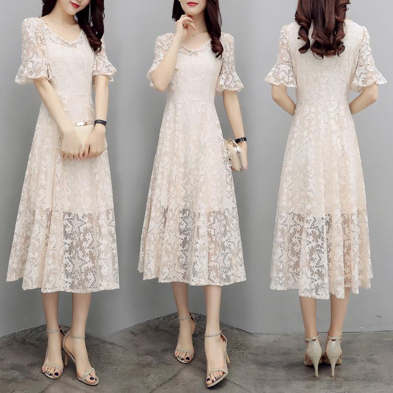 2018新款夏季女装韩版喇叭袖蕾丝V领裙子长款收腰显瘦大摆连衣裙