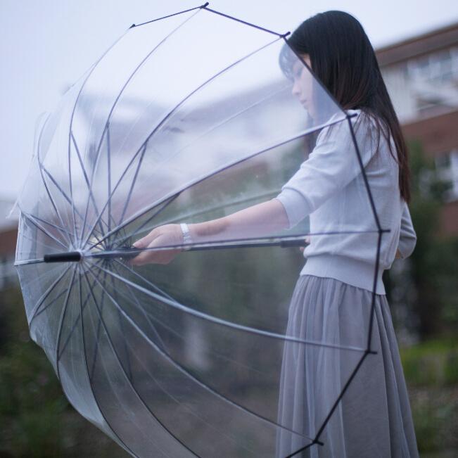 公主14骨加厚透明雨伞韩国版小清新长柄学生简约森系女神双人大伞