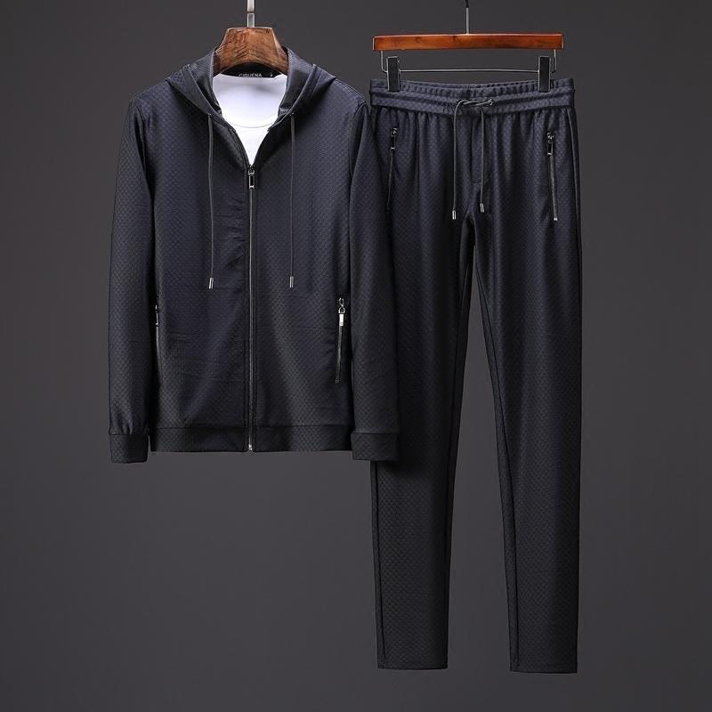 19春季暗格时尚休闲套装男士弹力透气舒适有型连帽开衫运动套装特