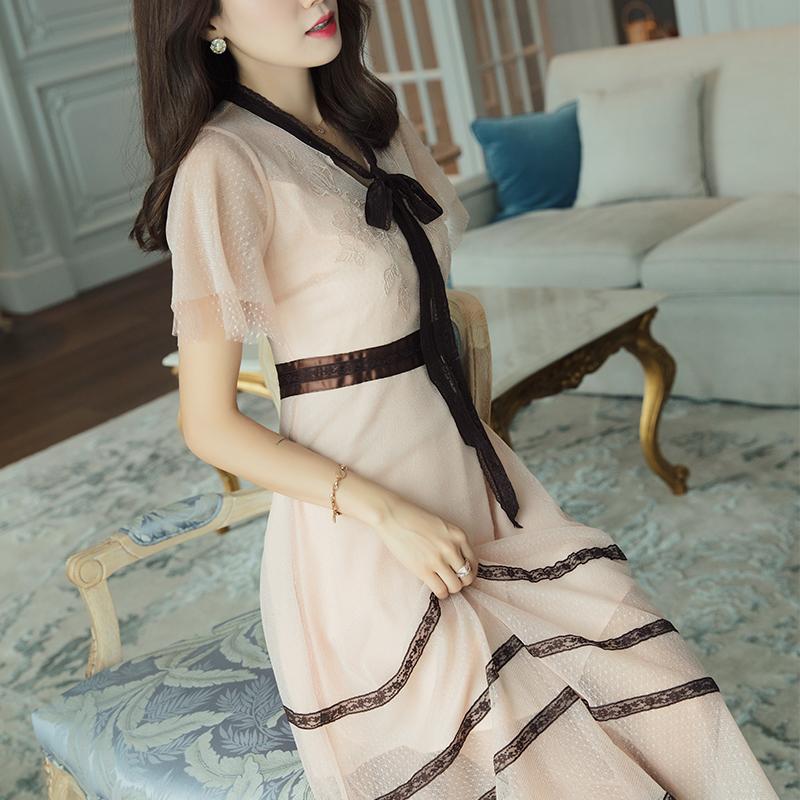 高端定制闪闪面料知性优雅连衣裙裸粉色网纱中长款短袖淑女裙子夏