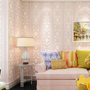 卧室精压墙纸3d立体浮雕无纺布壁纸欧式竖条纹客厅走廊背景墙环保