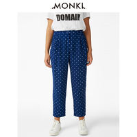 MONKI spring and summer 2018 casual comfort dot print loose foot trousers female 0562173