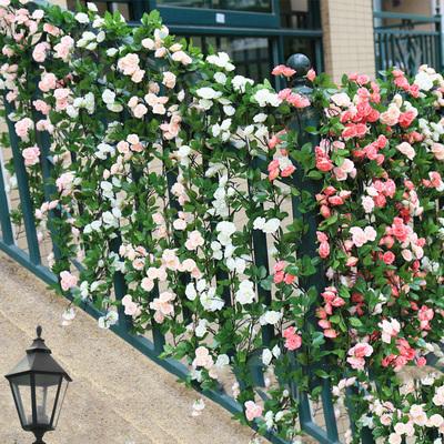 仿真玫瑰花藤假花藤条装饰空调管道遮挡垂吊壁挂树藤缠绕藤蔓植物