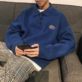 秋冬季翻领polo毛衣男士针织衫韩版外套男潮流套头慵懒风2018新款