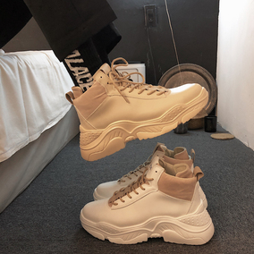男士鞋子韩版运动鞋2019新款厚底高帮鞋潮流春季男鞋增高鞋休闲鞋