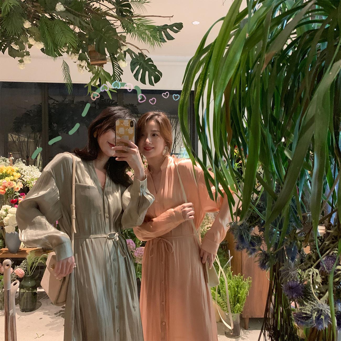 ◆ASM ANNA◆春装2019款 衬衫裙洋气丝光银河裙收腰长裙v领连衣裙