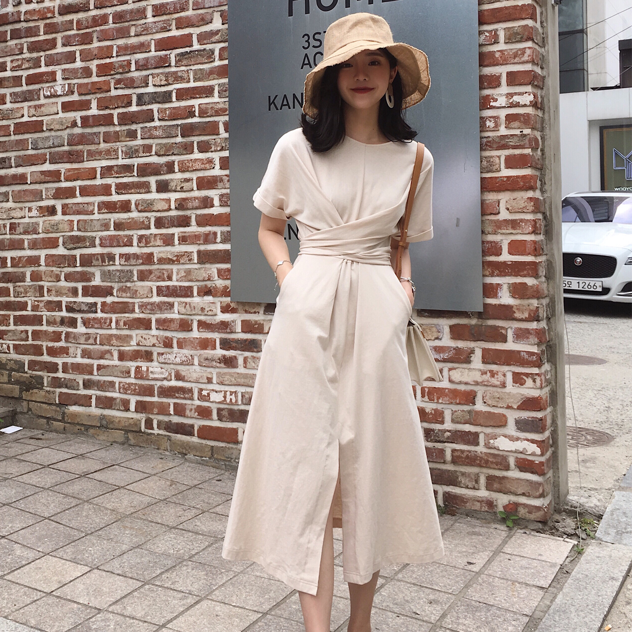◆ASM◆2018夏季新款短袖高腰收腰裙子气质显瘦中长款连衣裙女装