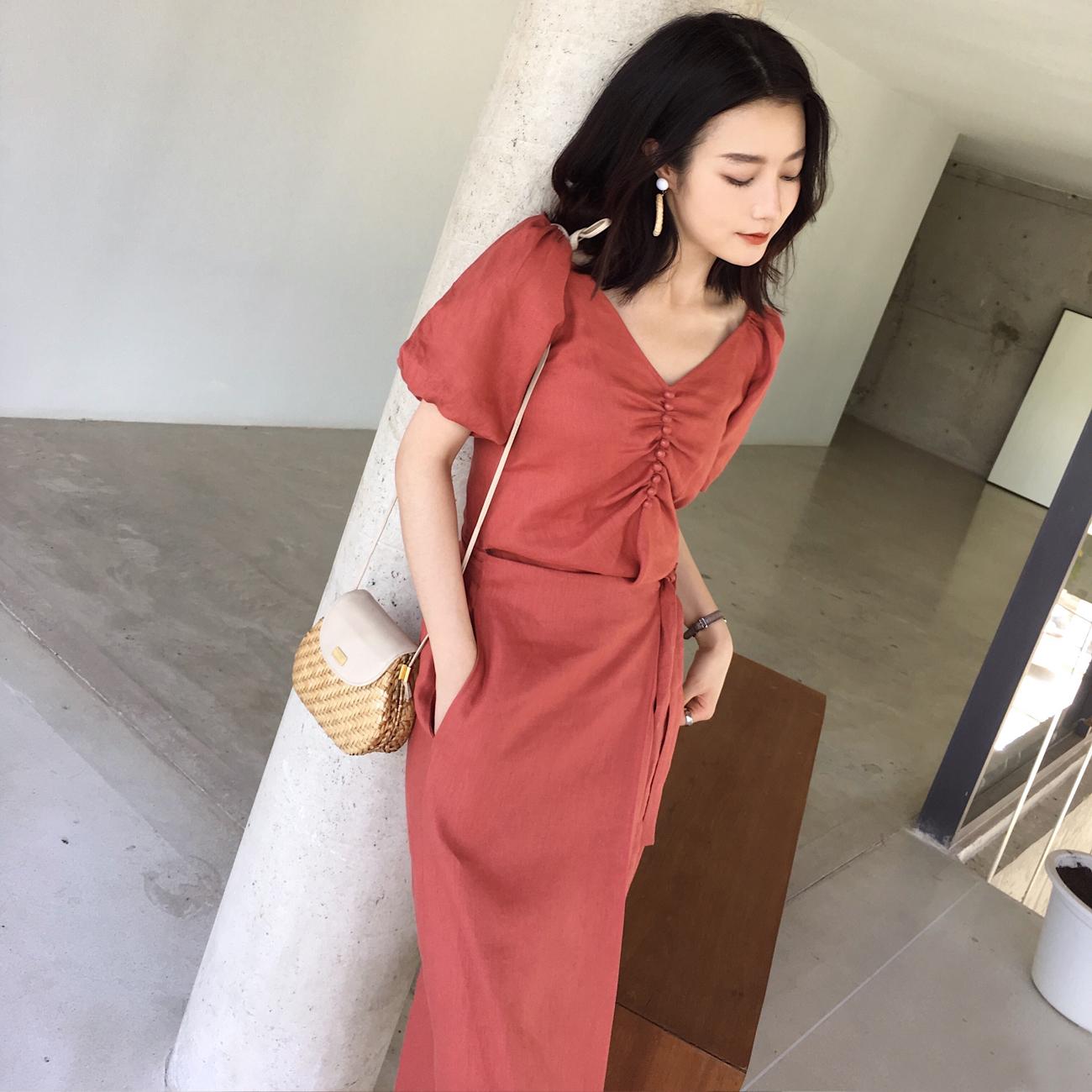 短袖女泡泡袖-裙