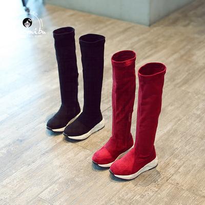 2018春秋新款儿童靴子女童高筒靴小学生过膝长靴长筒靴韩版秋靴潮