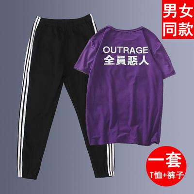 男女学生短袖t恤韩版潮休闲运动一套装全员恶人帅气衣服两件套夏