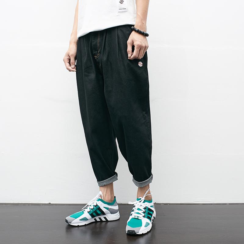 秋装新款高品质弹力休闲牛仔九分裤 日系牛仔哈伦裤KM375