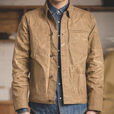 Madden's workwear American retro heavy oil wax canvas jacket Aramco classic recut body-fitting coat man