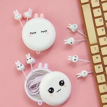 送收纳盒 超萌可爱有线带麦语音耳塞 可爱卡通 入耳式耳机女生韩版