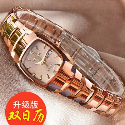 天天特价韩版简约手表女机械表防水女士手表时尚款钨钢女表双日历新品特惠