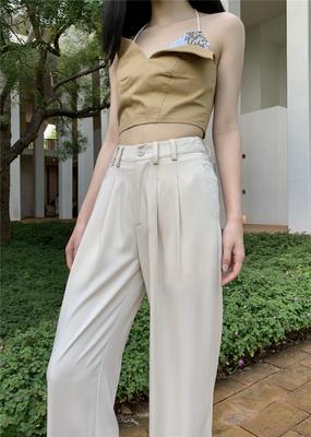 LXLILIUM 定制复古温柔风米白色显瘦牛奶丝面料垂感阔腿长裤