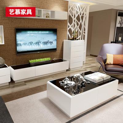 若蝶 现代简约电视柜茶几组合 客厅烤漆斗柜背景墙吊柜黑白色新款评测