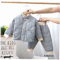 Baby cotton suit set female 1-3 years old infant winter silk cotton quilt boy child cotton padded cotton jacket tide 0