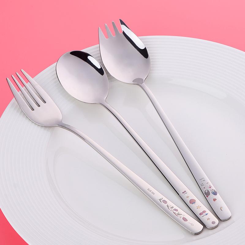 激光304不锈钢一体勺叉 长柄实心实用餐具 家庭中式金属勺子叉子