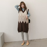 Pregnant women's spring and autumn fashion new knitted waistcoat skirt loose gradient plaid in the long Chao Ma sweater skirt tide