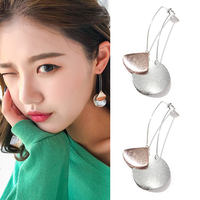 Korea minimalist wind wild casual earrings Europe and America exaggerated matte metal sequins round front and rear double earrings nails