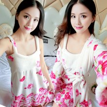 韩版睡衣女冬季珊瑚绒睡裙长袖加厚法兰绒睡袍两件套浴袍家居服秋