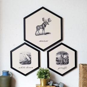 北欧简约美式六边形装饰画 客厅沙发卧室床头动物素描挂画壁画