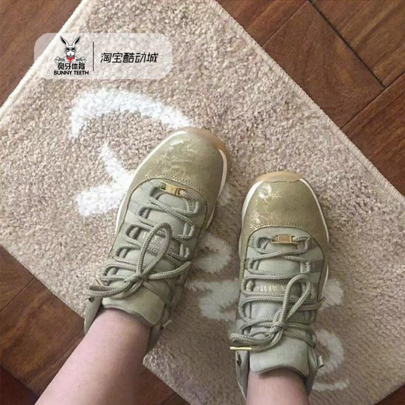 AIR JORDAN 11 GS 女篮球鞋 AJ11金丝橄榄 绿棕麂皮 AR0715-200