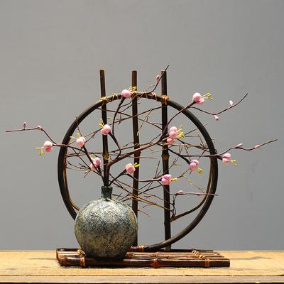 新中式复古陶瓷花瓶插干花禅意摆件 手工编织竹子客厅装饰品茶室