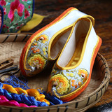 Original direct sales thousand layer bottom light silk silk hand-embroidered shoes national style retro Chinese style literary heart