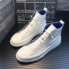 2019春季高帮男鞋韩版厚底马丁靴一脚蹬潮流板鞋社会精神小伙鞋子图片