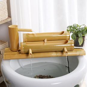 流水摆件客厅竹子流水喷泉招财风水轮加湿器鱼缸石槽过滤器摆件